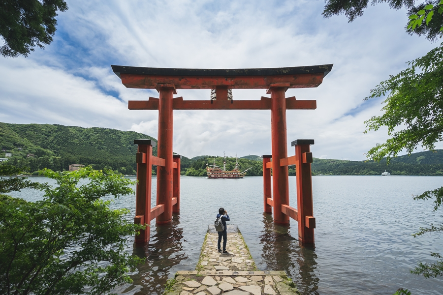 Japan Hakone Mount Fuji Lake Ashi Shrine Torii