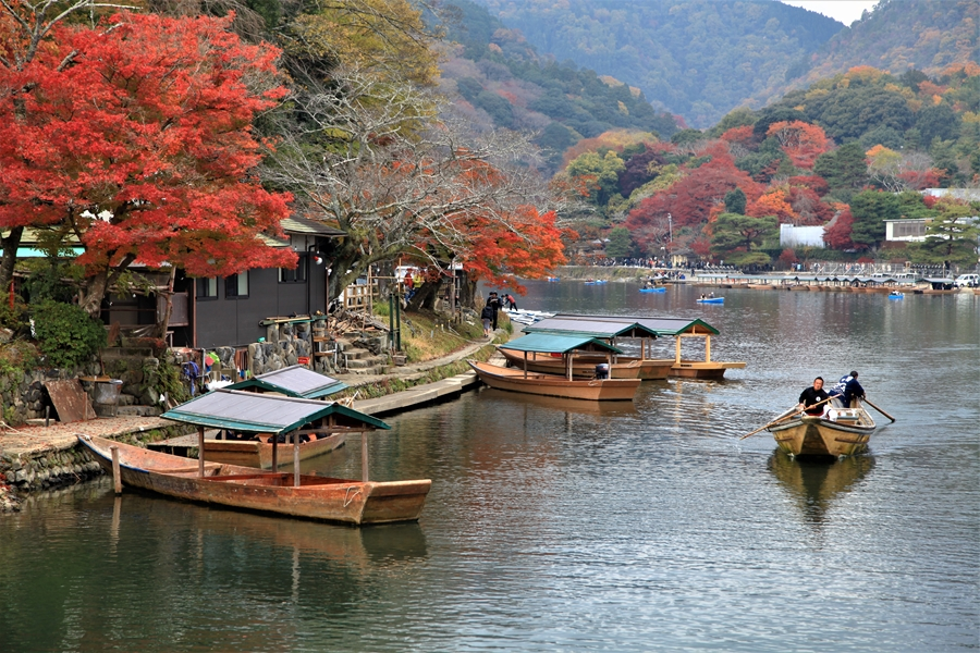 Japan Kyoto Arashiyama Hozu rivier fietsen
