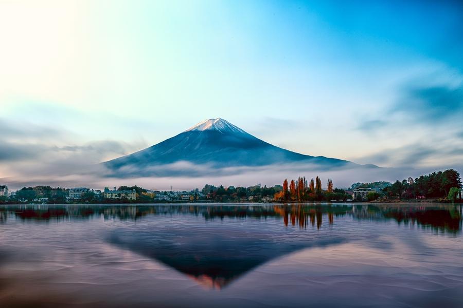 Japan Mount Fuji Reflectie in water