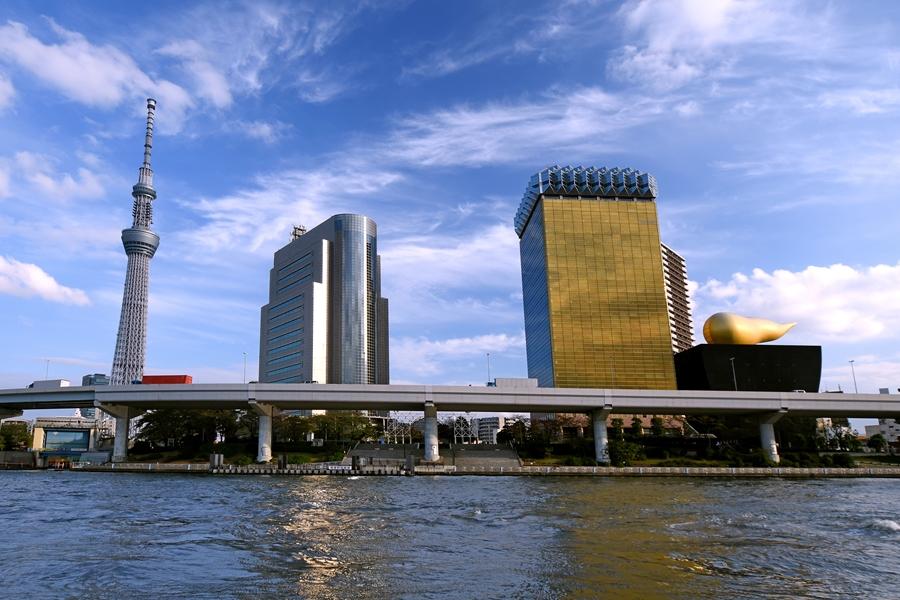 Japan Tokio Sumida rivier skyline 3