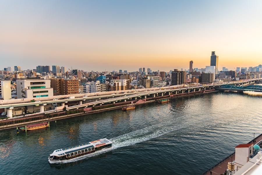 Japan Tokio Sumida rivier skyline