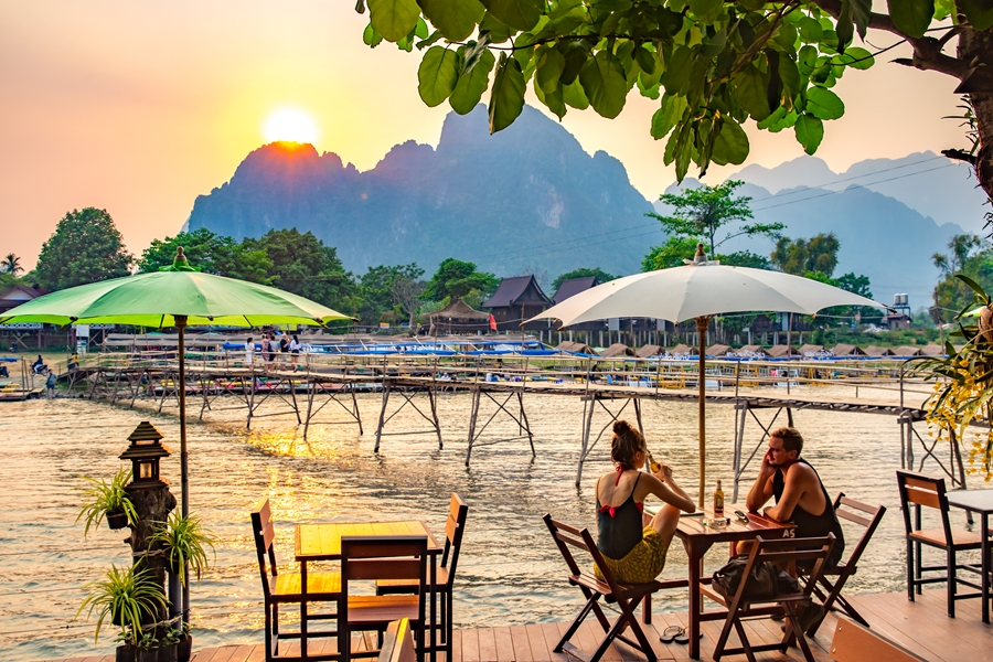 Laos Vang Vieng terras