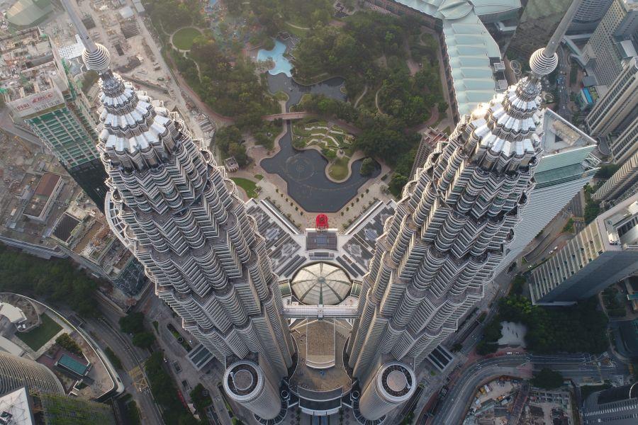 Maleisie Kuala Lumpur Twin towers Petronas bovenaanzicht