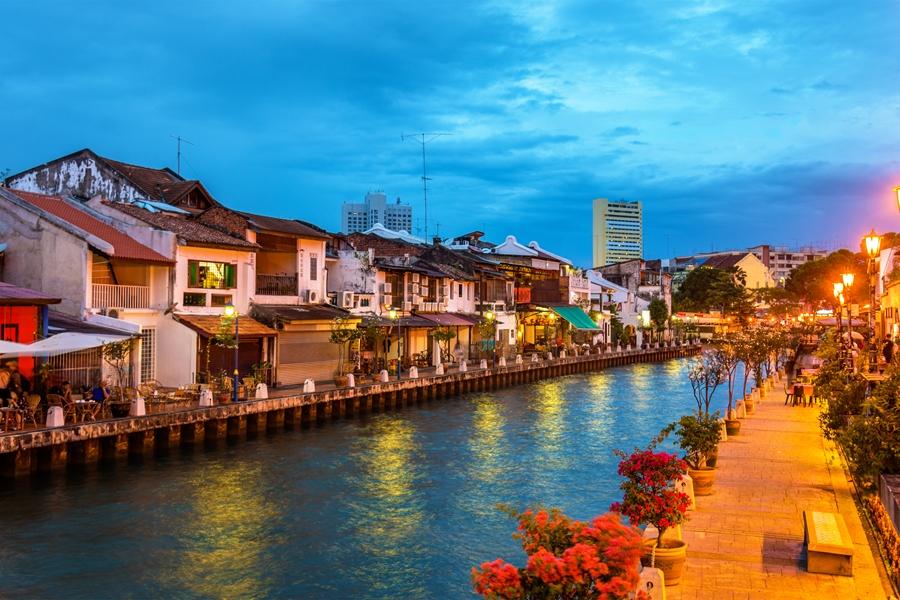 Maleisie Melaka Malacca Rivier in de avond
