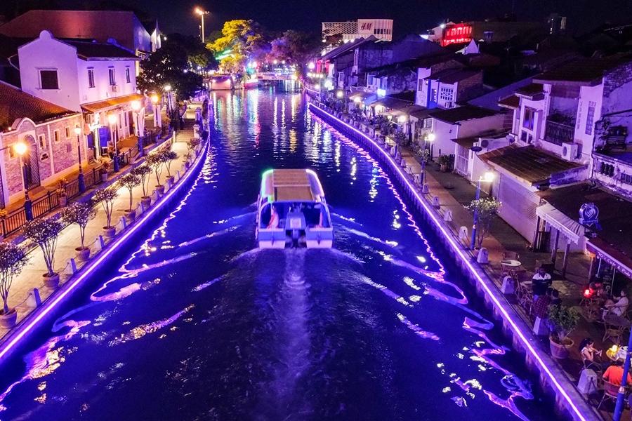 Maleisie Melaka Malacca Verlichte rivier