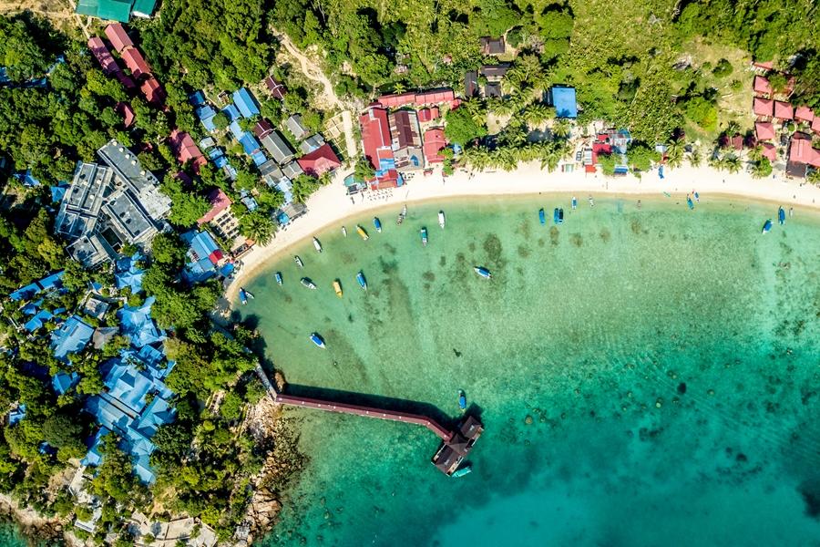 Maleisie Perhintians eilanden drone overzicht baai strand