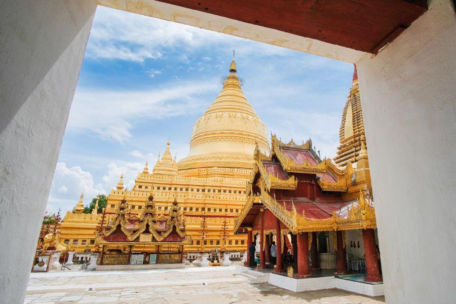 Myanmar Bagan Nyaung U Shwezigon Pagode tempel