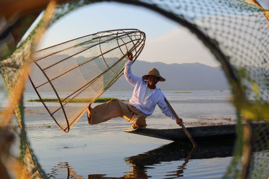 Myanmar Inle Lake traditional fisherman local