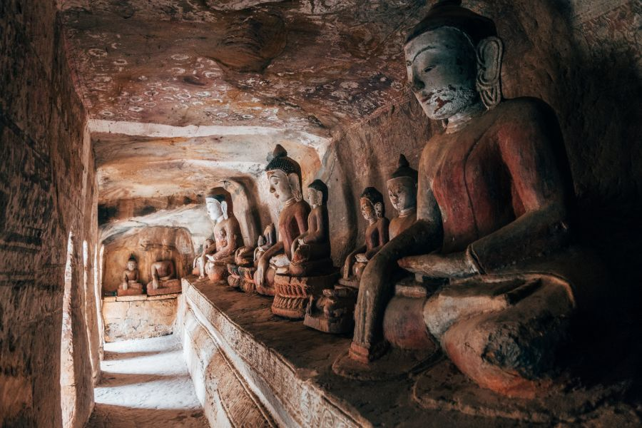 Myanmar Monywa Po Win Taung Cave tempel grot 2