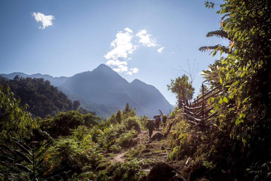 Myanmar Putao road to khakabo razi mount at Putao kachin state