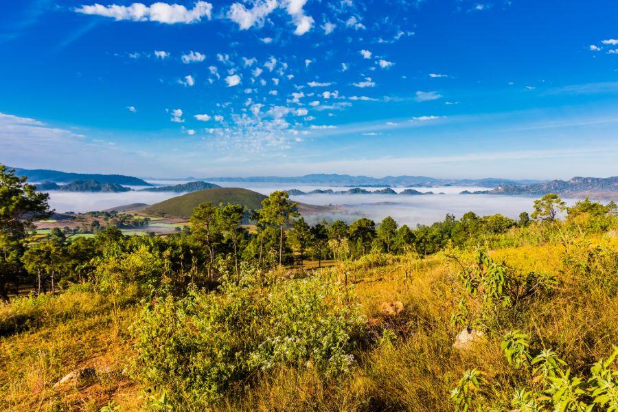 Myanmar Shan State Kalaw Inle Lake landschap