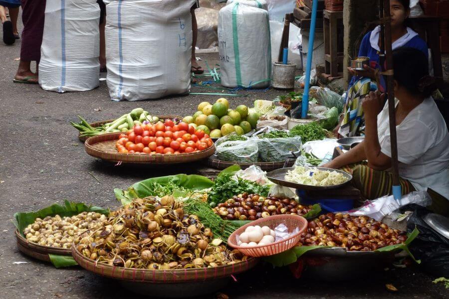 Myanmar Yangon Markt groente