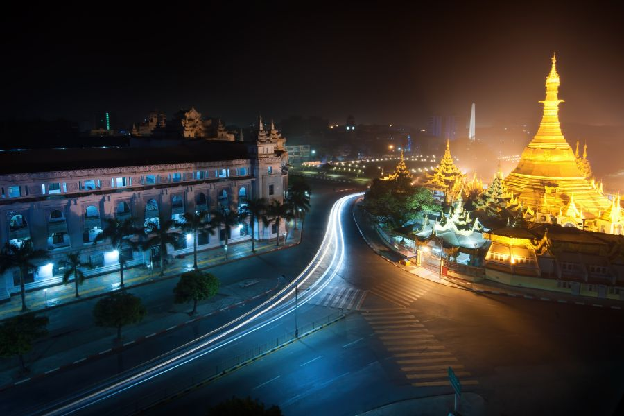 Myanmar Yangon by night Sule Pagoda