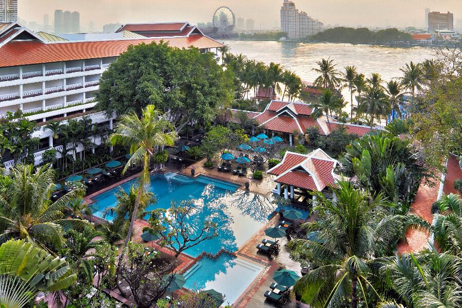 Thailand Hotel Bangkok Anantara Riverside Bangkok Pool Aerial