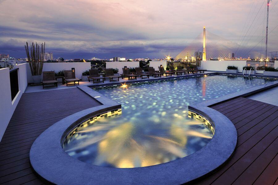 Thailand Hotel Navalai Bangkok Zwembed brug rivier