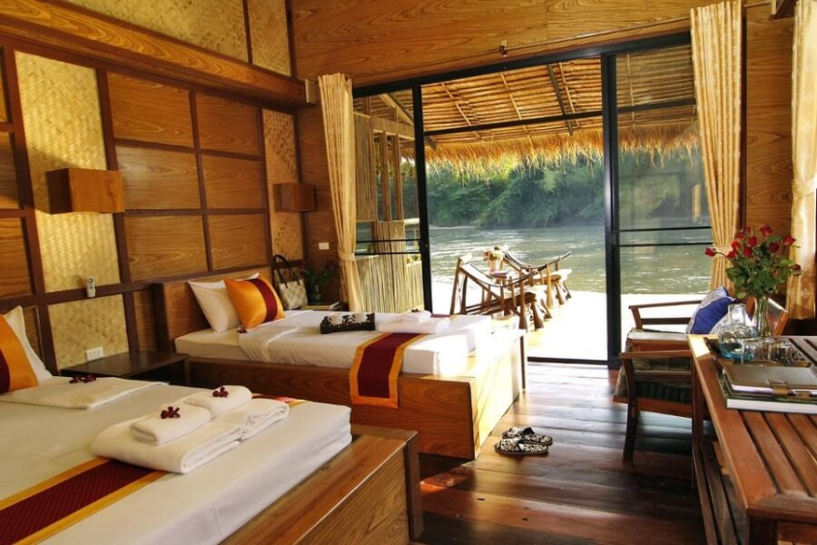 Thailand Kanchanaburi Boutique Rafts Resort river kwai suite