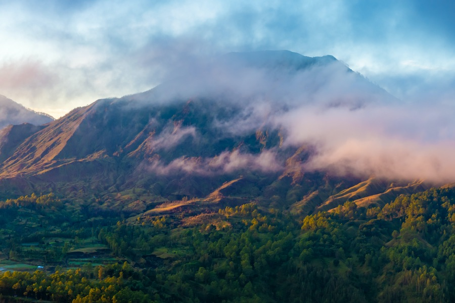 shutterstock 1415583995 Bali Indonesia. Batur volcano with caldera and Agung volcano in the morning mists.