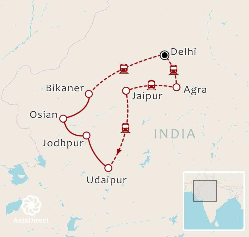 Routekaart 14-daagse rondreis Waanzinnig India