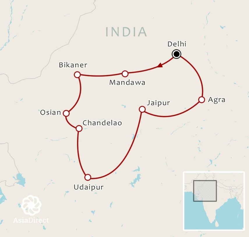 Routekaart 16-daagse rondreis De kleuren van India