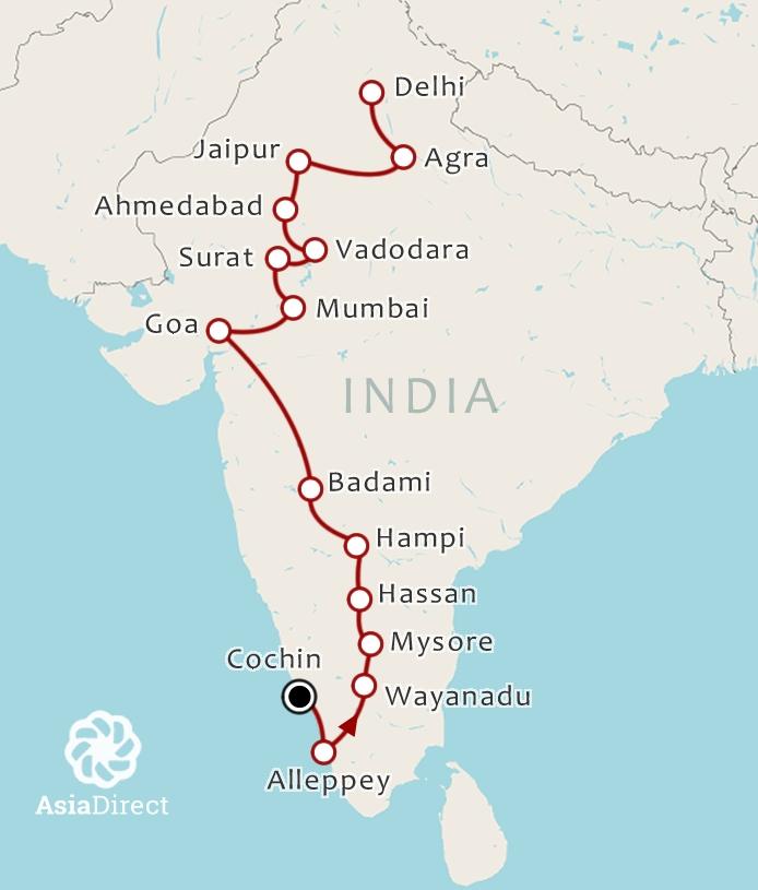 Routekaart 24-daagse rondreis India Compleet