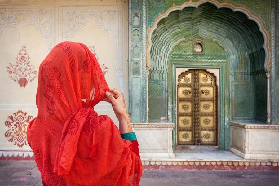 India Jaipur Vrouw deur