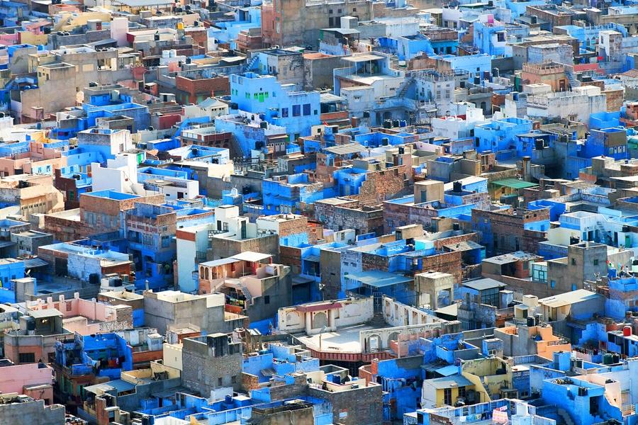India Jodhpur Stad vanuit Mehrangarh fort