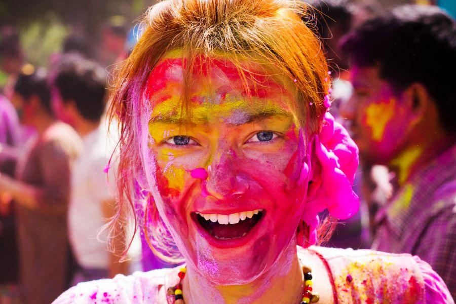 Holi Festival bezoeker