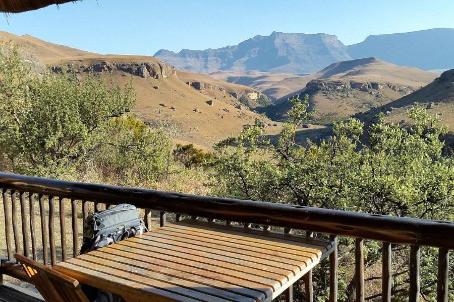 Giants Castle Resort Centraal Drakensberg Zuid Afrika uitzicht vanaf chalet